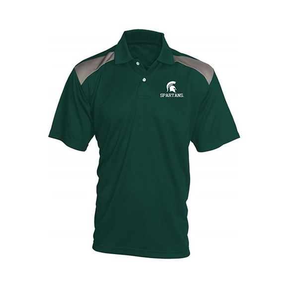 Michigan State Spartans NCAA Men/'s Pieced Poly Polo Shirt NWT